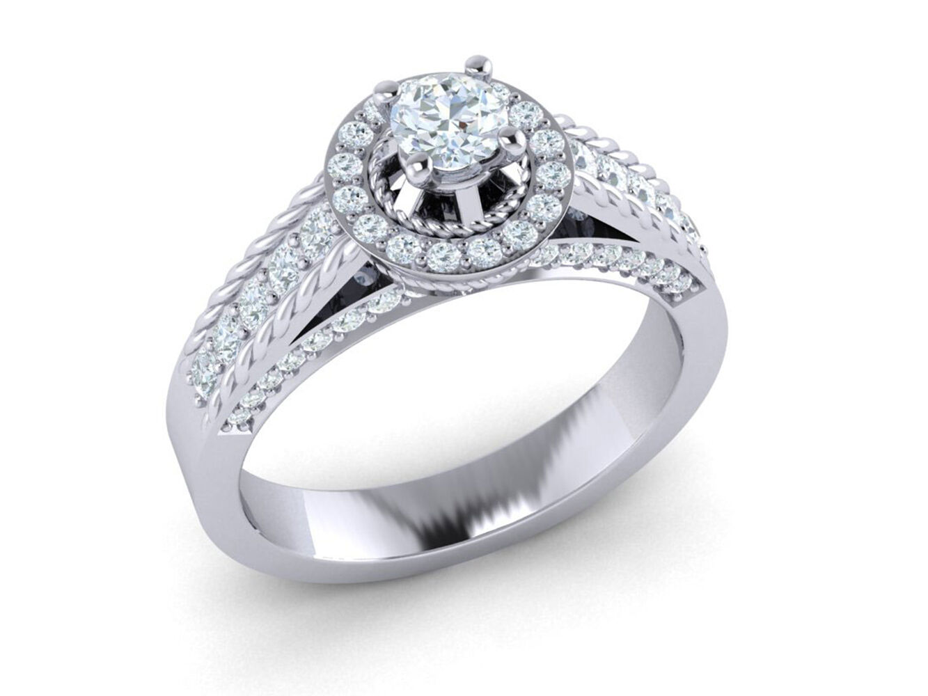 f890a697caf58 Halo Cluster Diamond Cut Round Natural Bridal 1ct gold 10K Ring ...