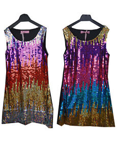 3fa1093973 Image is loading Girls-Kids-Beautiful-Multi-Coloured-Sequin-Party-Dress-