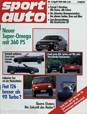 sport auto 4/89 1989 Fiat 126 BIS Lotus Omega Nissan 200 SX Alfa Spider Brohl Ne