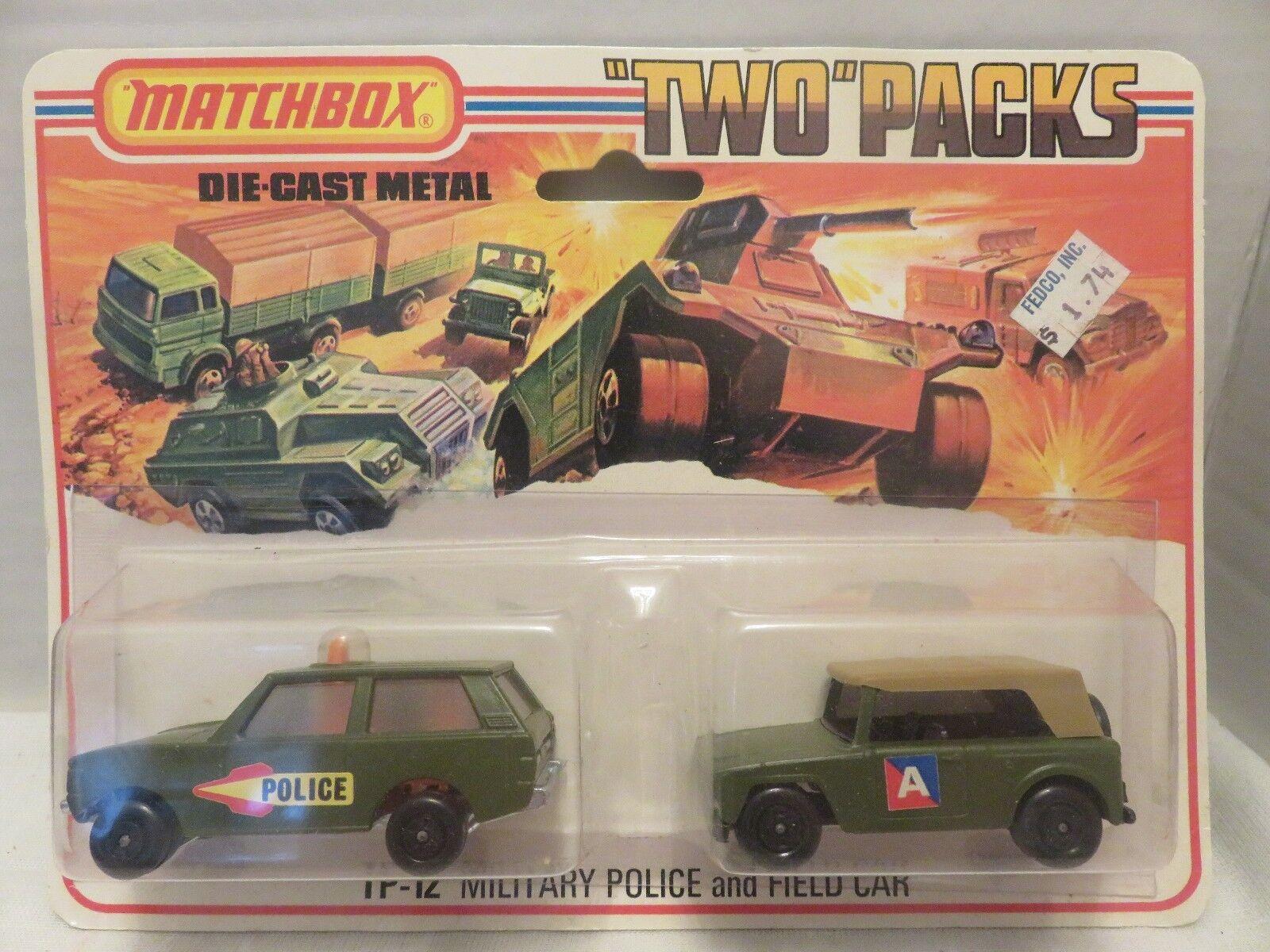 MATCHBOX LESNEY deux paquets Patrouille Militaire Champ Voiture Die-cast métal Angleterre TP-12