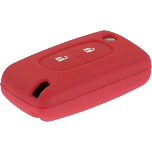 Silicone clé coque Peugeot 207//307//408 2-Touches Rouge Pliante Clé