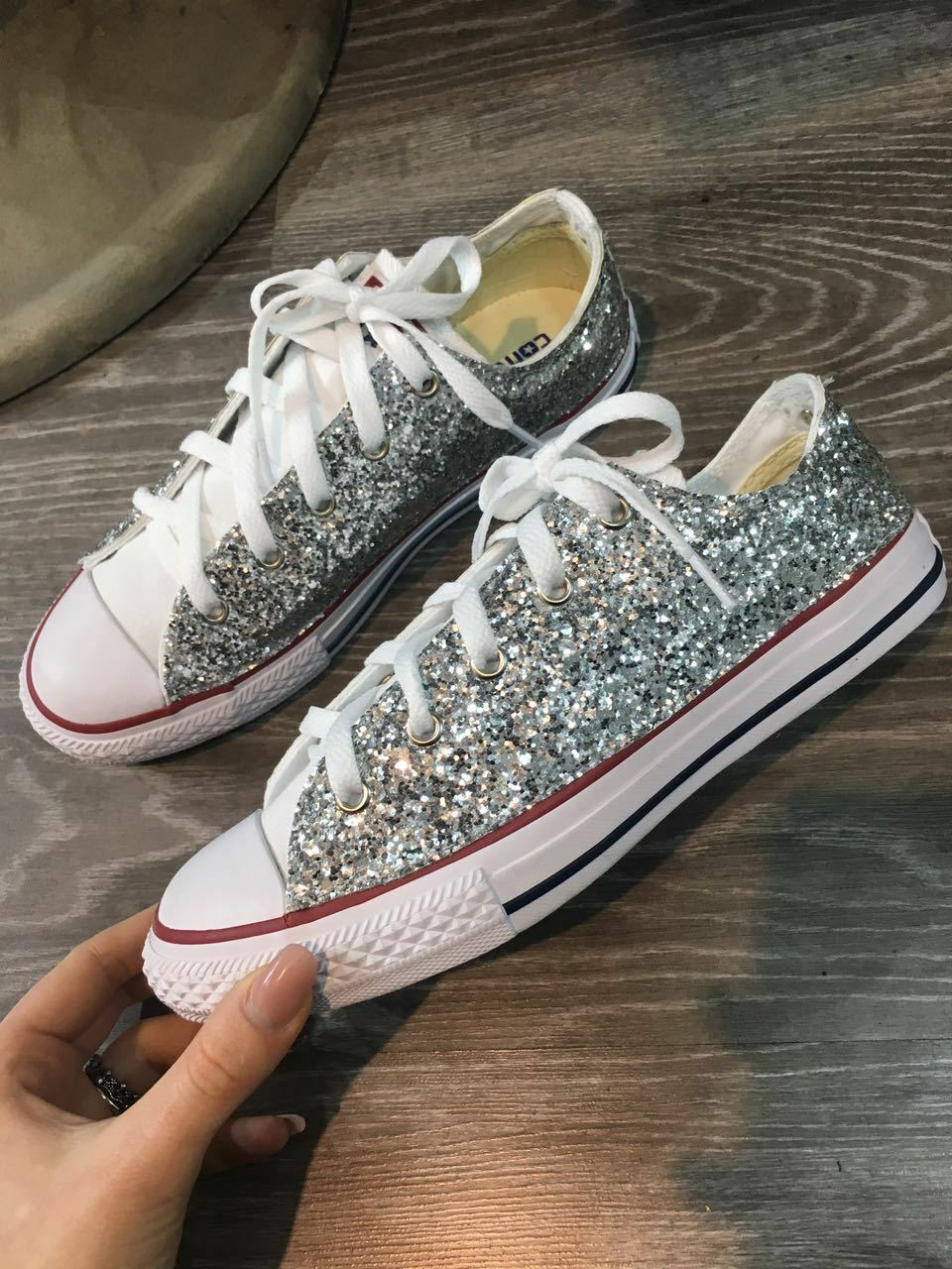 converse glitter all star borchiate con glitter converse argento e borchie stella acfed4