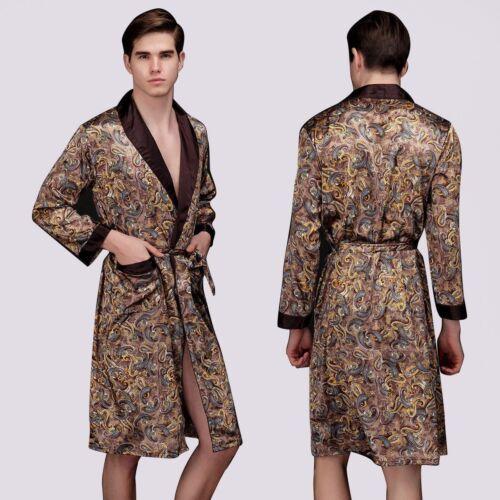 Mens Satin Silk Summer Pajamas Kimono Bathrobe Robe Dressing Gown Pjs Loungewear