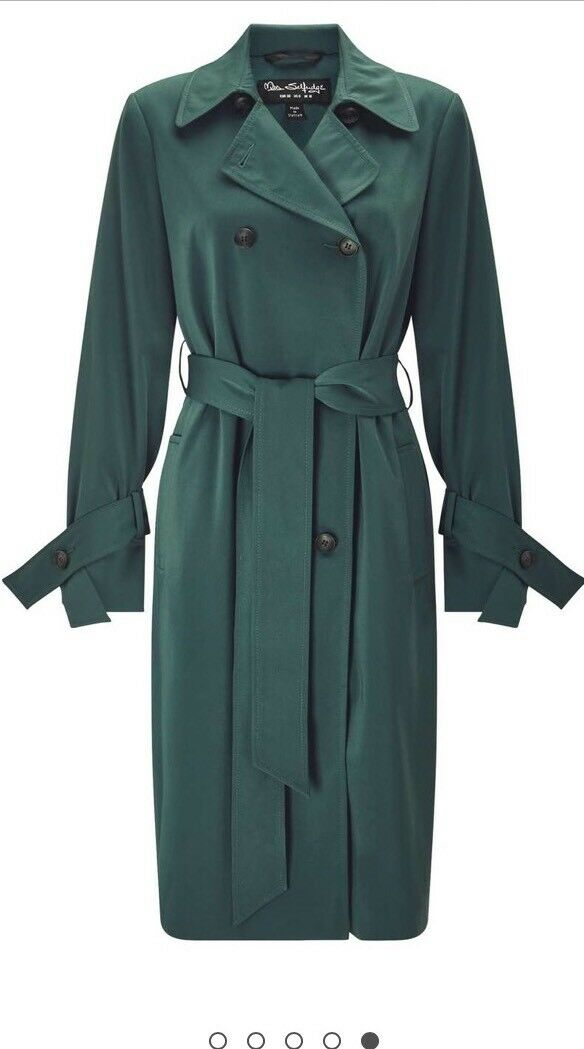 Miss Selfridge dark green double breasted trench coat Rrp