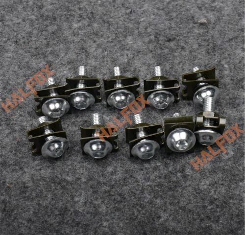 Silver 6MM Fairing Bolts Kit Bodywork Screws Nut For Yamaha YZF R6 R1 R25 R125