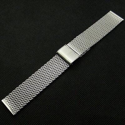 20mm/22mm Adjustable Mesh Stainless Steel Watch Band Strap Bracelet Silver Mens