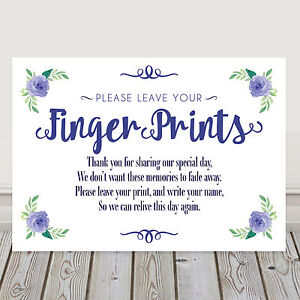Image Is Loading Navy Blue Wedding Finger Print Tree Table Sign