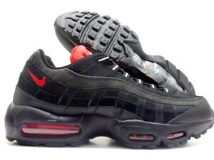 timeless design dfd5b c3a7f Image is loading NIKE-AIR-MAX-95-ESSENTIAL-BLACK-CHALLENGE-RED-