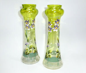 Zwei-Vasen-um-1900-Emaillefarbenmalerei-Boehmen