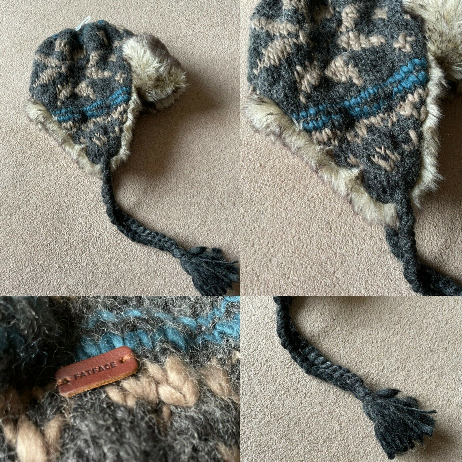 BNWOT FAT FACE Grey Beige NORDIC KNIT Faux Fur Trim TRAPPER Hat
