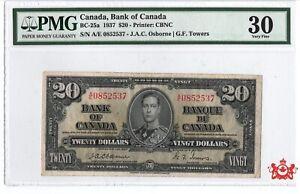 1937-Bank-Of-Canada-20-Osborne-A-E0852537-PMG-VF30