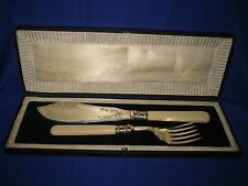 ANTIQUE/ VINTAGE FISH SERVER KNIFE AND FORK H.F&Co SHEFFIELD  BOXED