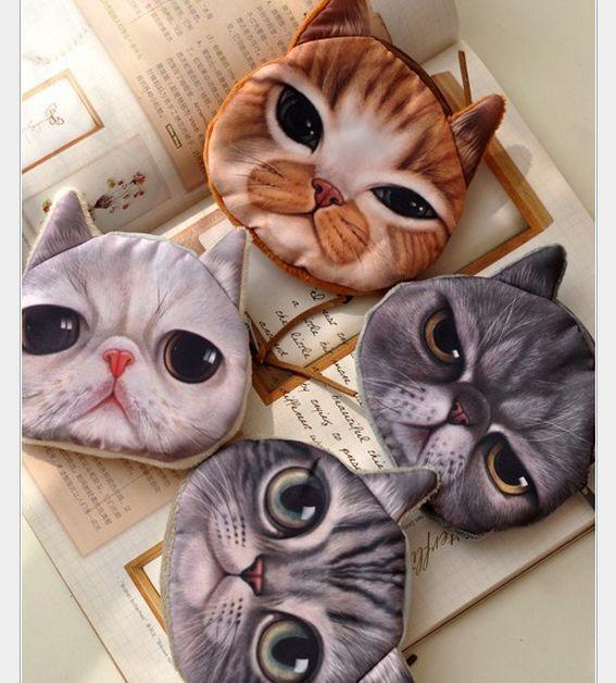 Cute Cat Face HOT Children Kids Zipper Case Coin Purse Wallet Makeup Bag Pouch