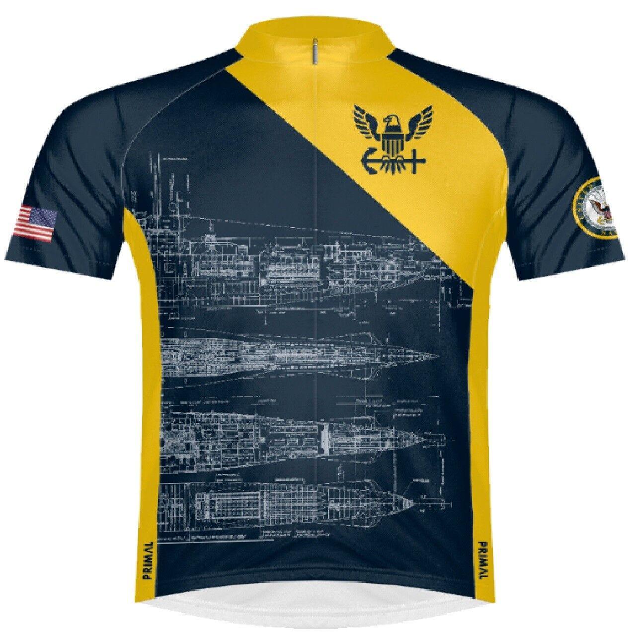 Primal Wear U.S. Navy Submarine Sie's Sport Cut Full Zip Radfahren Jersey