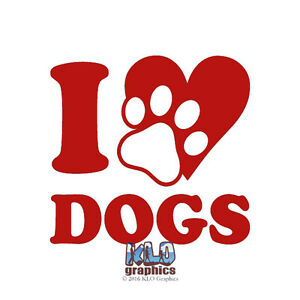 Details about I HEART DOGS Vinyl Sticker Puppies AKC Register Full Bred  Breed Rescue Dog LOVE