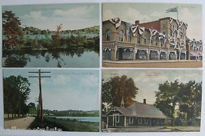 Arlington, Ma. 4 Postcards 1908 RESERVOIR, LOWELL TURNPIKE, DOANE, R.R. DEPOT