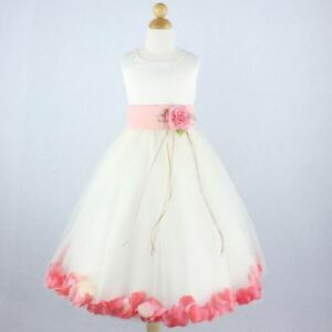 f3d0188ba003 IVORY PEACH WITH CORAL Flower Girl Dress Petals Formal Recital Prom ...