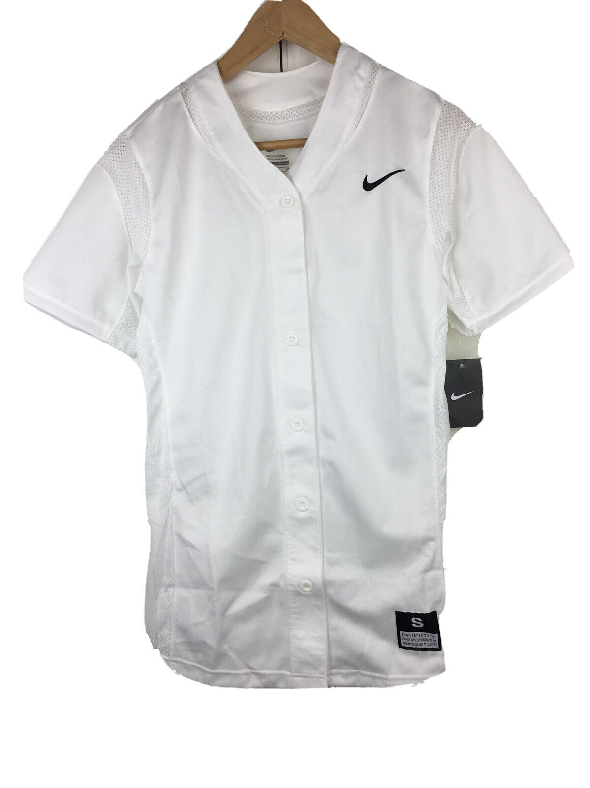 NWT Nike 630600 Womens Size S White Short Sleeve Button Front Softball Shirt
