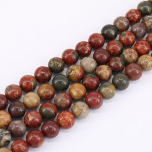 """15/"""" Natural Picasso Jasper Gemstone Stone Spacer Loose Beads Finding 4//6//8//10mm"""