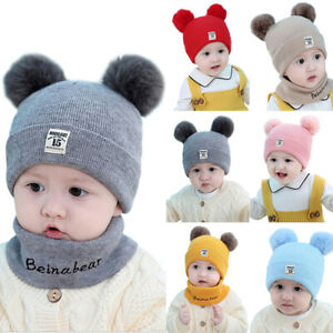 Toddler Kids Girl/&Boy Baby Infant Winter Crochet Knit Hat Beanie Cap With Scarf