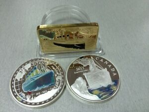 TITANIC NOVELTY GOLD BAR /& SILVER COINS 3 PCS FREE CAPSULE COLLECTIBLE GIFT HOT