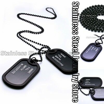 Military Army Style Black 2 Dog Tags Chain Mens Pendant Necklace w/Tracking N045