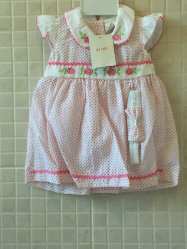 L Babys Girl Dress  and pants Spanish Style set polka dot pink red M