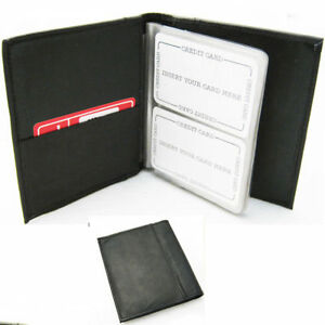 Leather organizer business card book holder black compact case image is loading leather organizer business card book holder black compact reheart Images