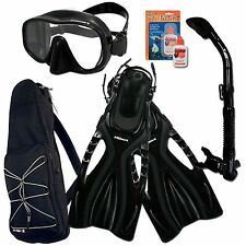 Black ProMate Frameless Dive Mask Snorkel Fins Dry Bag Gear Set Unisex ML/XL Fin