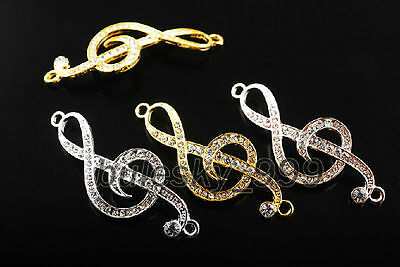 53x20mm Musical Note Metal Charms Crystal Rhinestones Curved Craft Connectors
