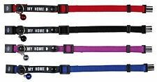 4180  ( My Home ) Safety Cat Collars + Bell No Pet Tags Needed X 1