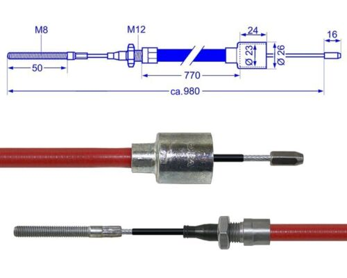 Al-KO//alko Longlife bremsseil cable Bowden 770//980mm con rosca a finales de 299709