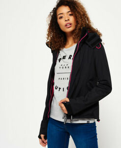 New-Womens-Superdry-Pop-Zip-Hooded-Arctic-SD-Windcheater-Jacket-Black
