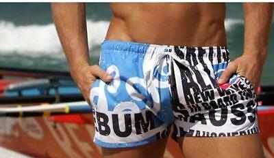 Retro Men's Beach Swimming Swim Trunks Shorts Slim Pants Swimwears Blue