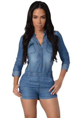 Abito tuta aderente jeans Button Scollo Spacco Mini Denim Shirt Romper Dress M