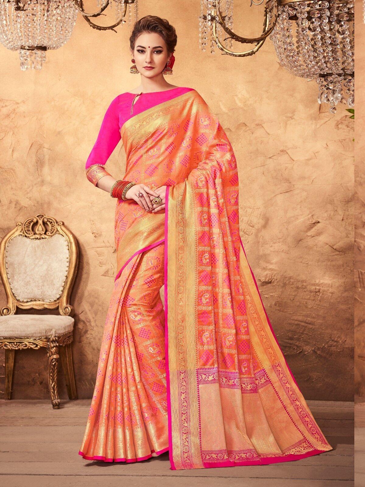 Bollywood Sari Saree Party Wear Designer Peach Woven Patola Art Silk -3573