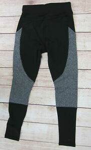POP-FIT-Athletic-Workout-Leggings-with-Pockets-1255-1-Small-Black-Grey-NWT