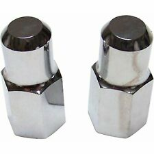 Chrome Spindle Turn Stop Nuts Pair Hex Cap 716th 20 15 Head Hot Rods Fits 1939 Ford