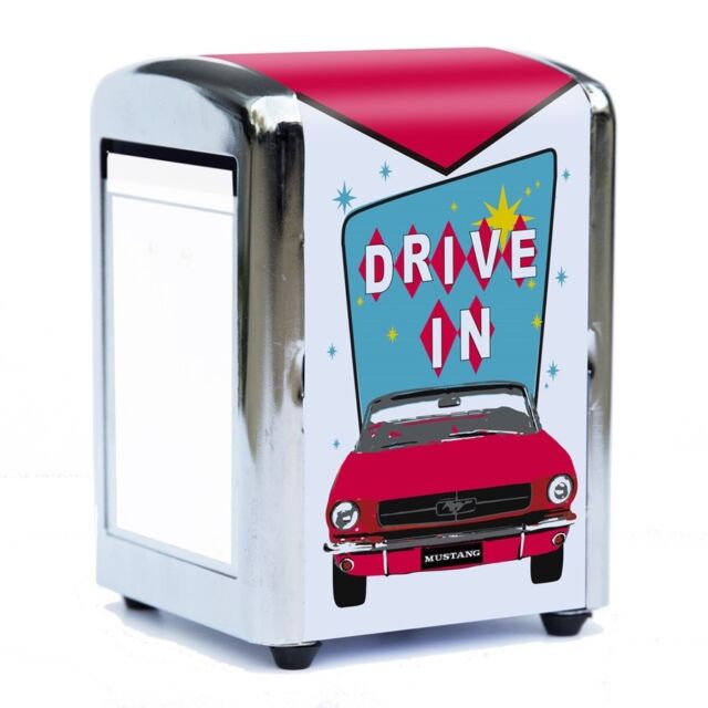 Ford Mustang Retro Diner Napkin Dispenser Holder - Set Of Four