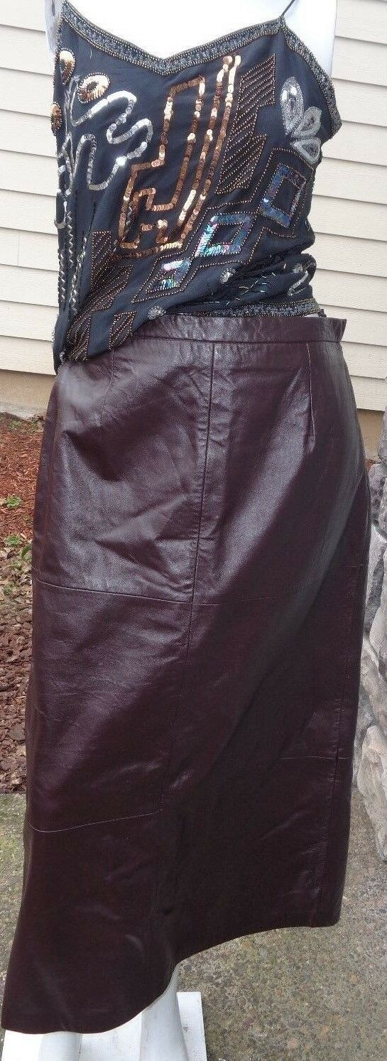 Terry Lewis CLASSIC LUXURIES 35  long dark brown leather skirt SZ 10 nwt