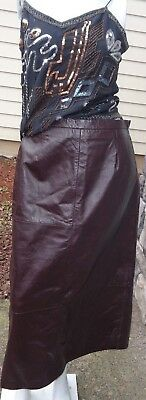 """Terry Lewis Classic Luxuries 35"""" Long Dark Brown Leather Skirt Sz 10 Nwt Skirts"""