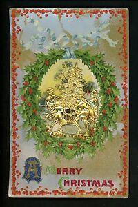 Novelty Vintage postcard Metal Add-On Christmas Tree on embossed holly card