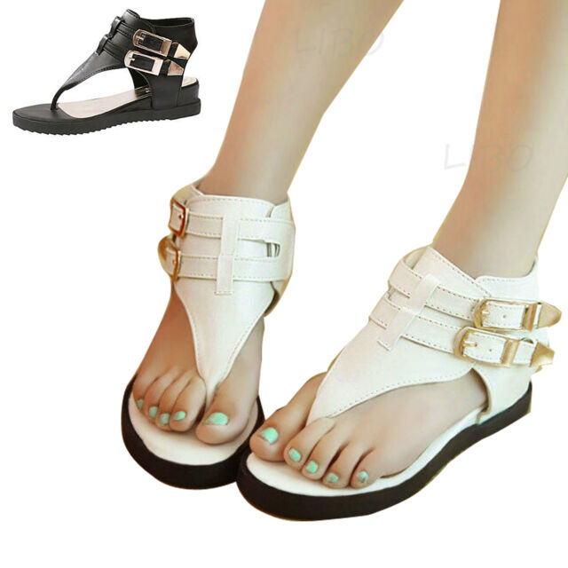 Summer Women T Strap Ankle Buckle Thong Flat Sandals Flip Flops Gladiator Shoes
