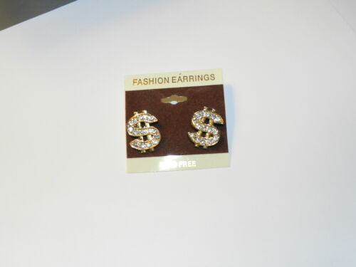 Cash money $ dollar sign Hip Hop Gold tone stud earrings clear crystal NEW