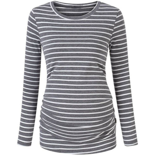 Pregnant Women Maternity Long Sleeve Nursing Top Breastfeeding T Shirt Blouse UK