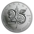 2013 $5 Canada Silver Maple Leaf 25th Anniversary 1oz .9999 Fine Silver BU Coin
