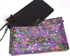 Coach Rose Meadow Pop Up Pouch Large Wristlet Bag Violet Multi F57987 NWT $175