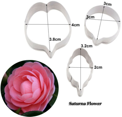 3Pcs Stainless Steel Cutters Camell Flower Fondant Cake Mold Craft Baking Moulds