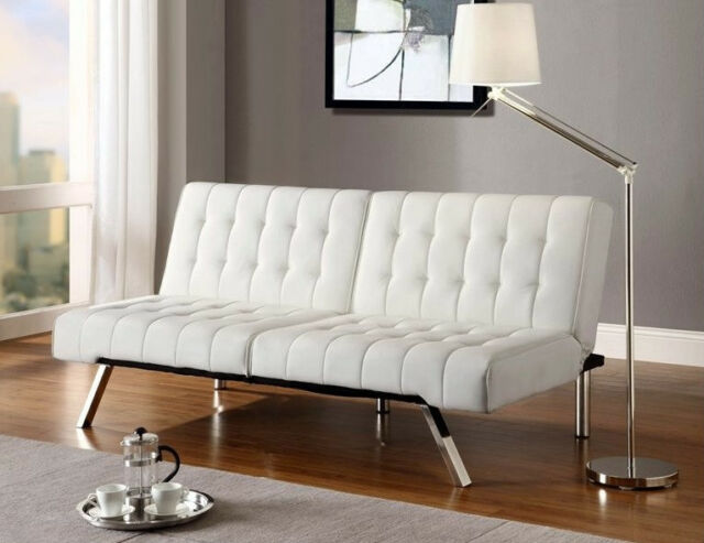 White Futon Faux Leather Sofa Bed In Vanilla Cream Convertible Couch NEW