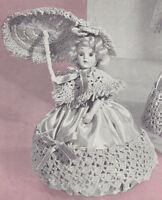 Vintage Crochet Pattern To Make Doll Pin Cushion Dress Shawl Hat Umbrella 8 Dor